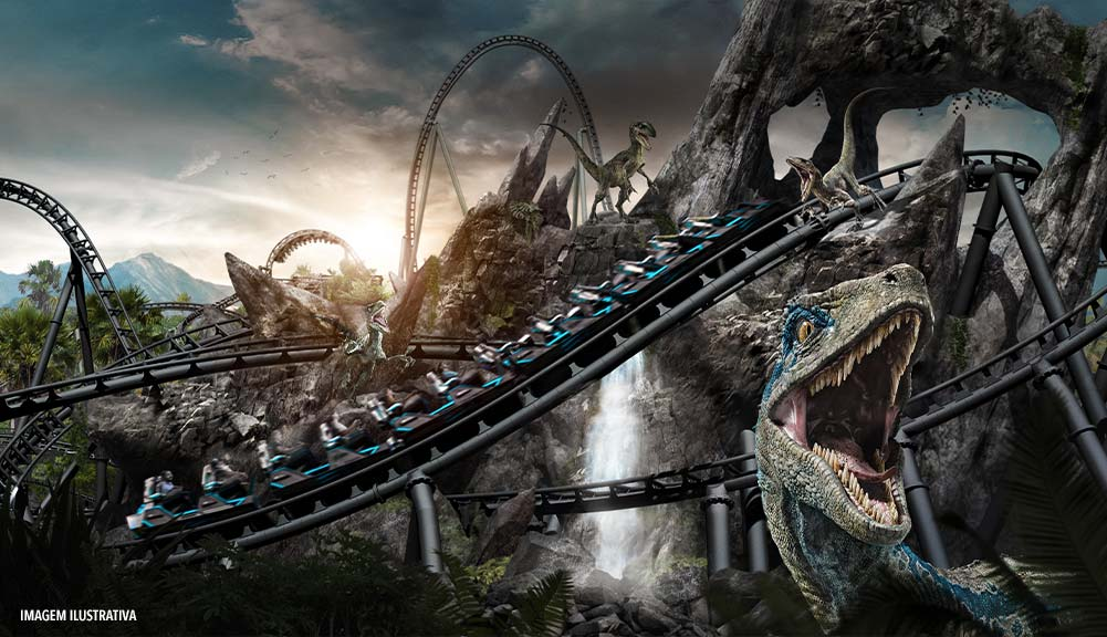 An artist conceptual rendering of the new VelociCoaster, coming to Jurassic Park in Universal's Islands of Adventure.
